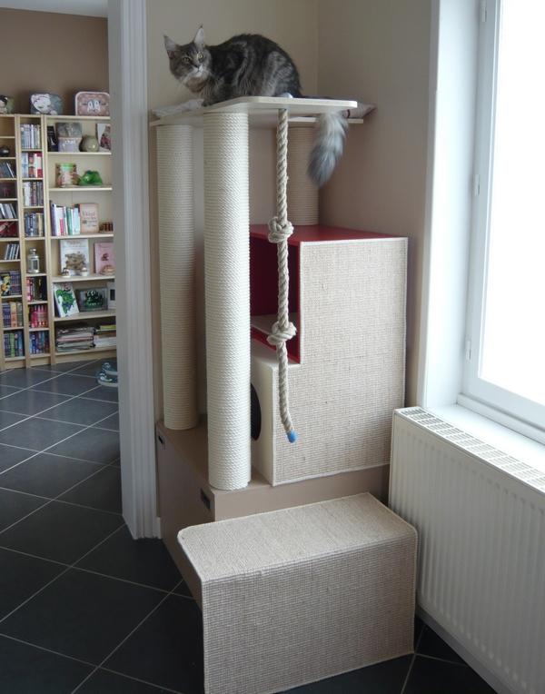 Arbre chats avis aux bricoleurs - Fabriquer son arbre a chat ...